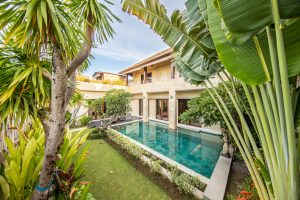 house and backyard oasis swimming pool with tropical plants in the foreground
